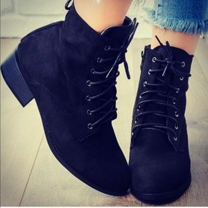 New! Kennedy Black Suede Lace Up Heel Ankle Boot